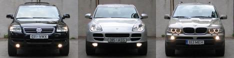 Тест драйв автомобилей: Porsche Cayenne, VW Touareg, BMW X5