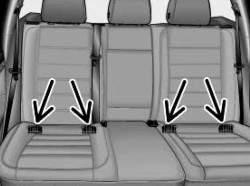 Схематичное изображение: крепежные проушины на основании заднего сиденья для детского креслица ISOFIX