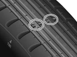 Указатели износа протекторов шины