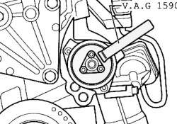 Фиксация шкива ключом для водяных насосов V. A. G 1590