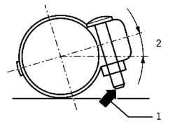 Монтажное положение ремонтного двойного хомута по направлению движения