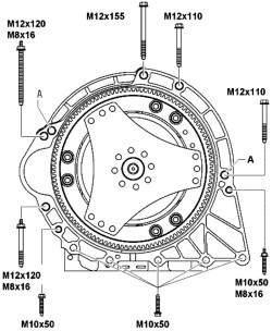 Моменты затяжки болтов крепления КП к двигателю