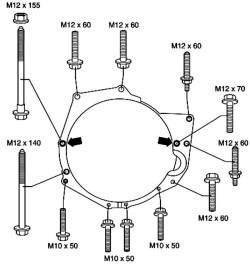 Моменты затяжки болтов крепления КП (бензиновый двигатель V6)