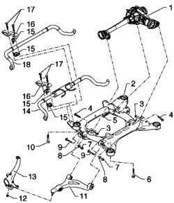 Схема монтажа узла - подрамник, стабилизатор, нижний рычаг подвески