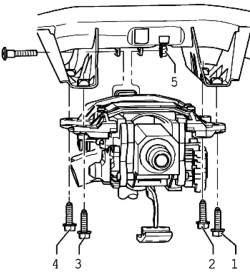 Последовательность затягивания болтов крепления рулевой колонки