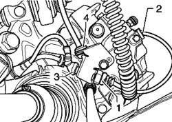 Снятие компонентов кабеля индикатора износа тормозных колодок