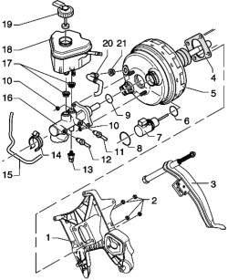 Усилитель тормозного привода/главный тормозной цилиндр