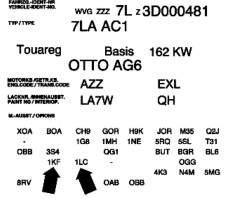 Пример информационной таблички с данными об установленных тормозах